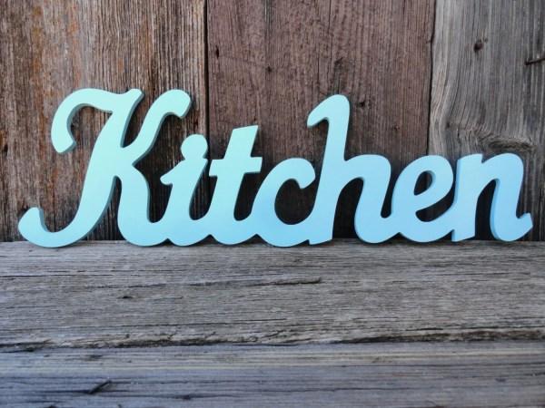 Kitchen Wall Decor Word Sign Aqua Shabby Chic