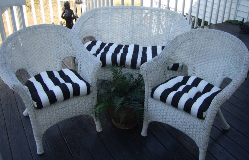 Black And White Stripe Cushions For Wicker Loveseat Settee & 2