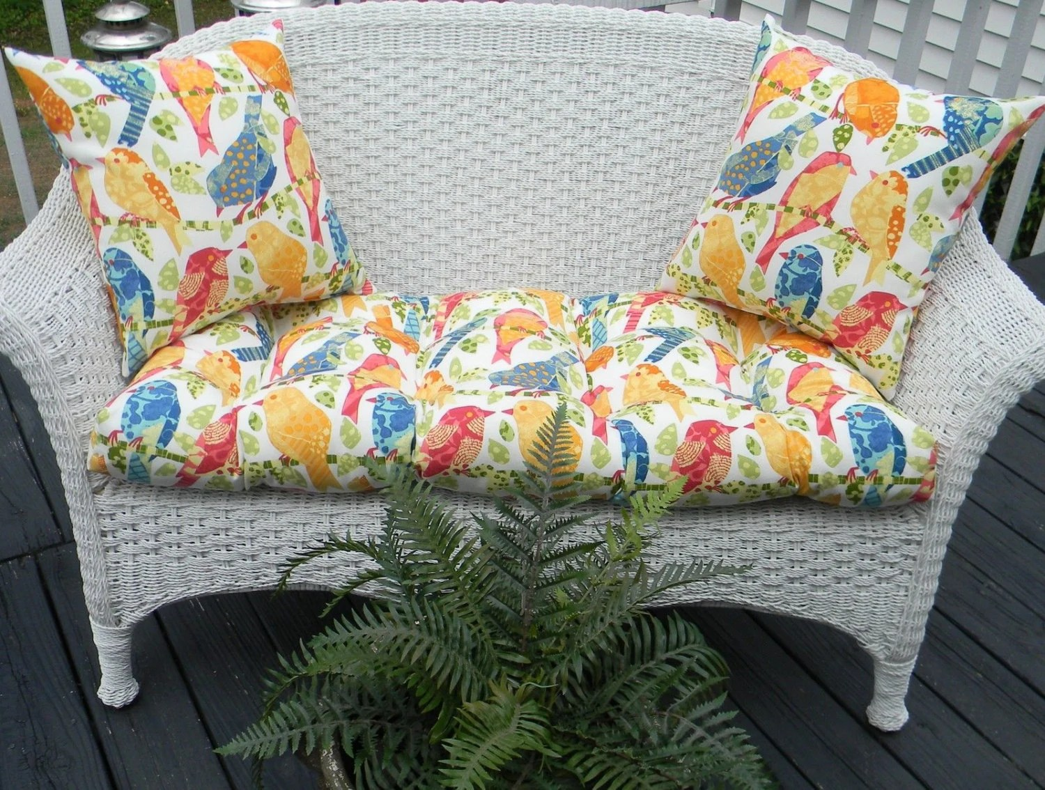 Indoor / Outdoor Cushion 3 PC Set For Wicker Loveseat Bench