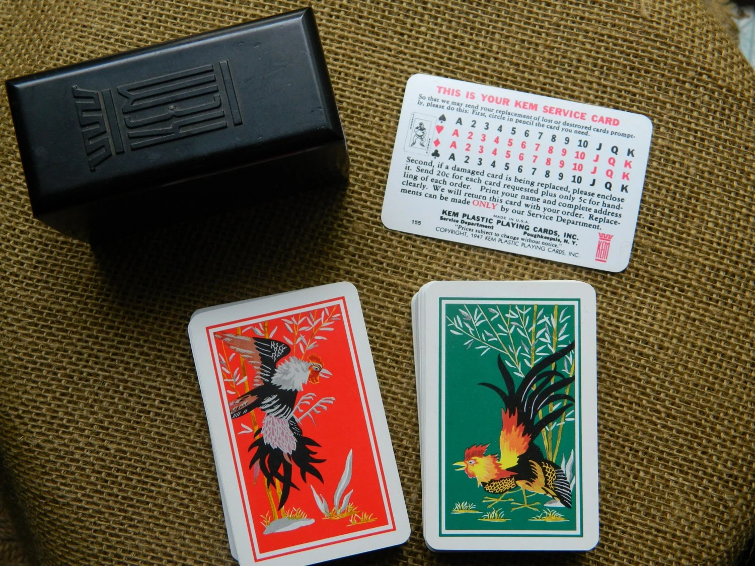 Vintage Kem Plastic Playing Cards With Black Case From 1947