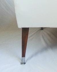 Mid Century Modern Chair White Vinyl with Blue Off-Center