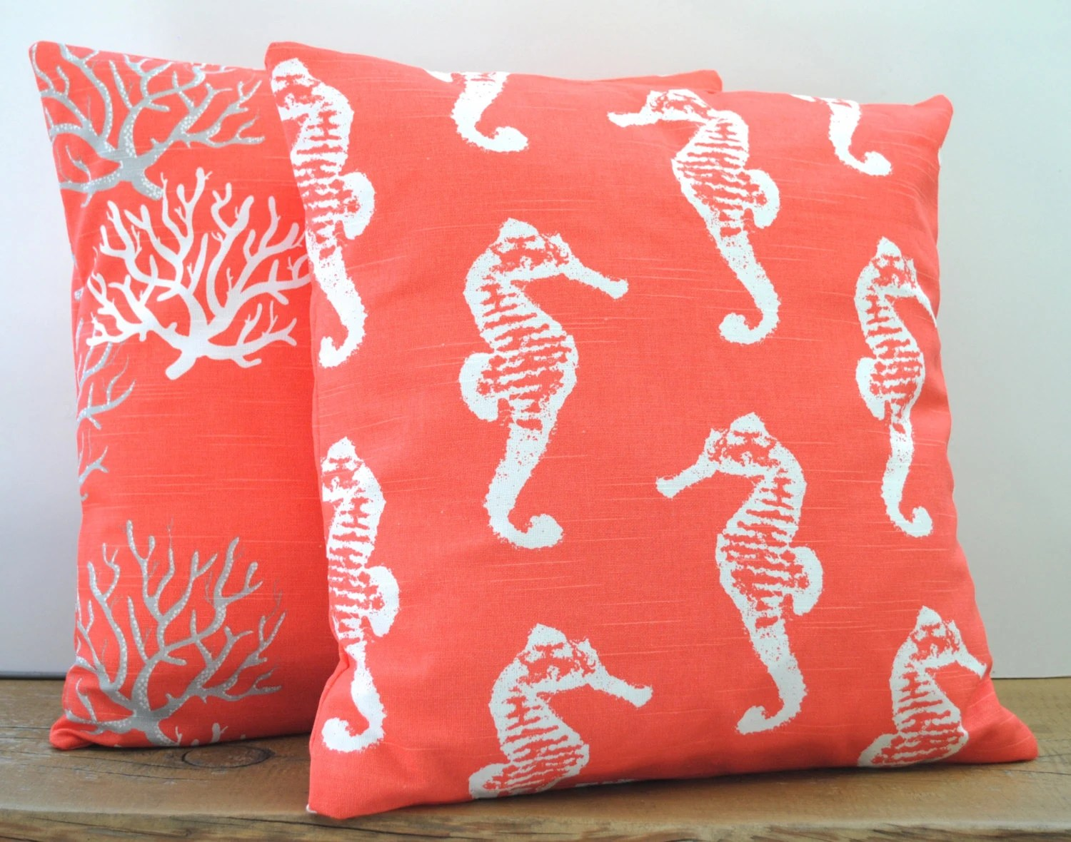 One seahorse coral nautical pillow covers by