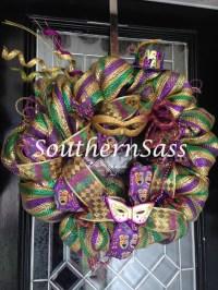 Deco Mesh Mardi Gras Wreath Door Hanger Decoration Ready to