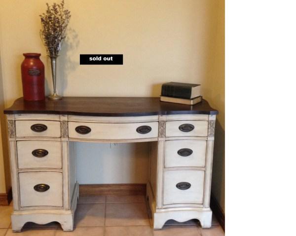 Soldantique Solid Wood Desk Vanity Refinished Vintage