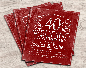 Ruby Red 40th Wedding Anniversary Invitation / Customized / DIY Printable - PartyInkStudio