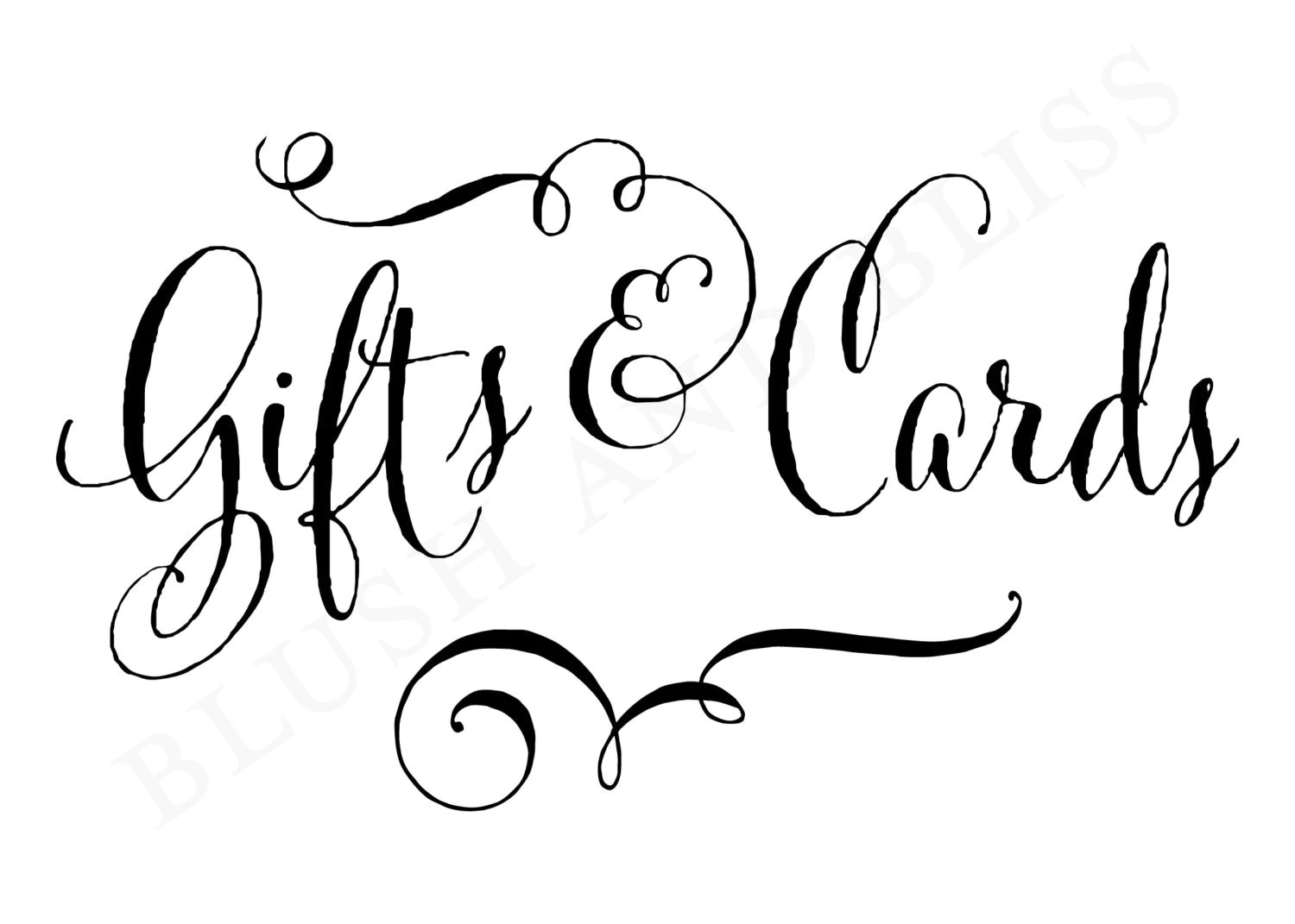INSTANT DOWNLOAD Printable Wedding Gifts and Cards Sign