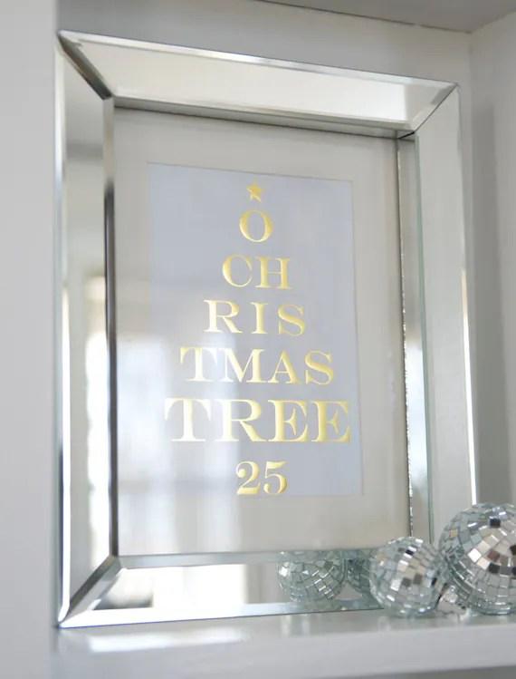 O Chritmas Tree Print Framed In 8x10 Mirror Frame FREE