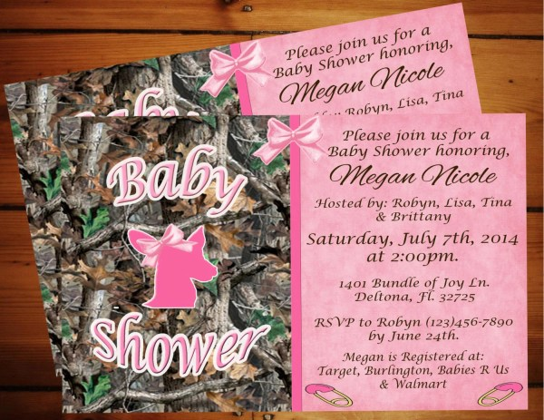 Sweet Pink Camo Baby Shower Invitation.printable