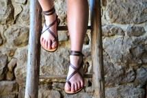 Purple Leather Sandals Women Barefoot