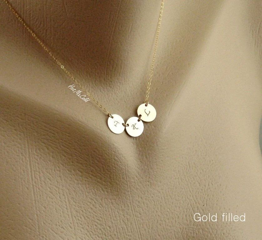 three monogram charm necklace tiny initial disc by hotmixcold