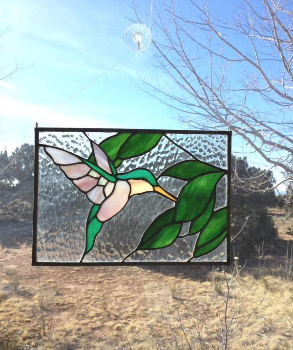 Stained Glass Window Hummingbird. Suncatcher. Harrachglass