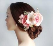 bridal flower hair clip pink