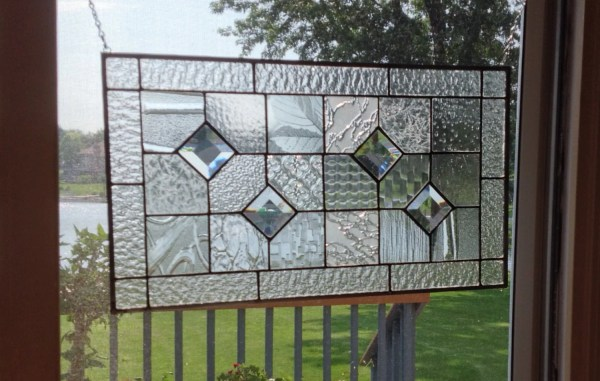 Stained Glass Panel Window Geometric Clear Quilt Sampler