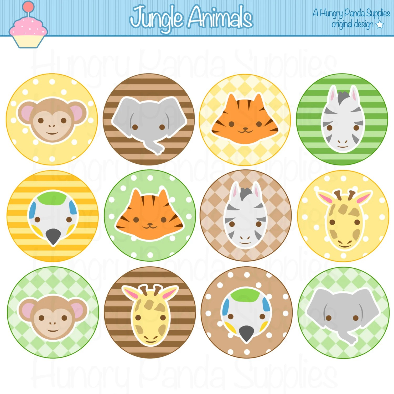 Jungle Animals Cupcake Toppers Printable By