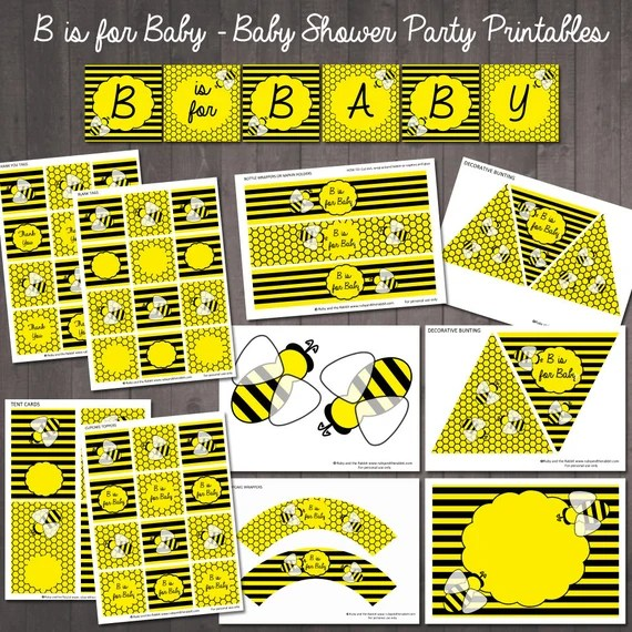 B is for baby bumble bee baby shower printable party set