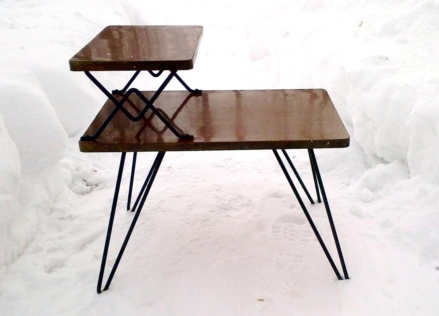 Vintage Mid Century Modern Wood Laminate Two Tier Step Back