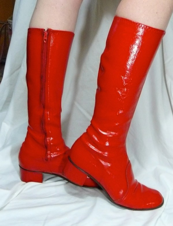 Red Boots Vinyl Tall Woman