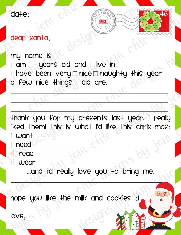 christmas list template – Christmas List to Santa Template