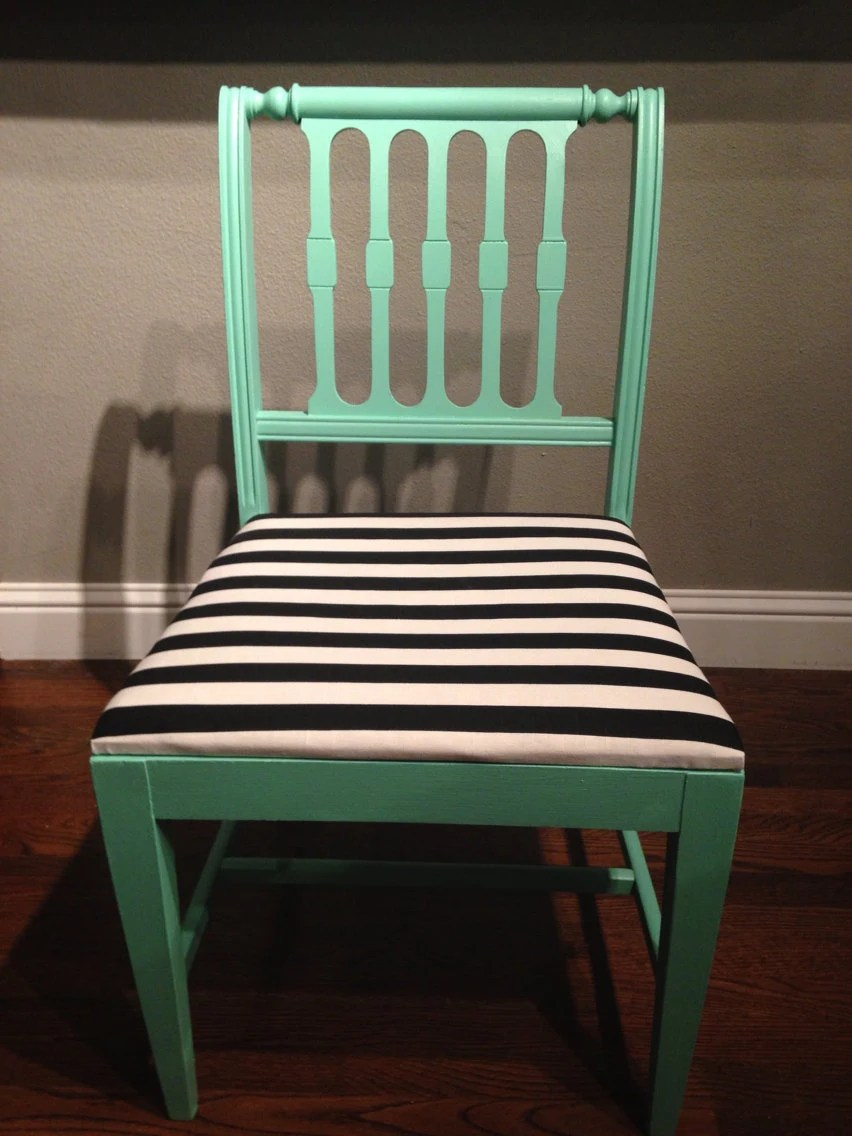 Mint green chair with black and white stripes by refinedDUST