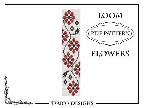Loom Bead Pattern Flower Bracelet Square Stitch Pattern Daisy