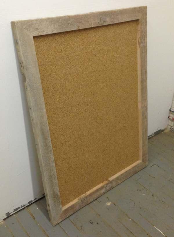 Large Cork Board Reclaimed Wood Frame Cork Board Kitchen