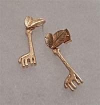 Gold Giraffe Earrings Matte Gold Post Earrings Small Dangle