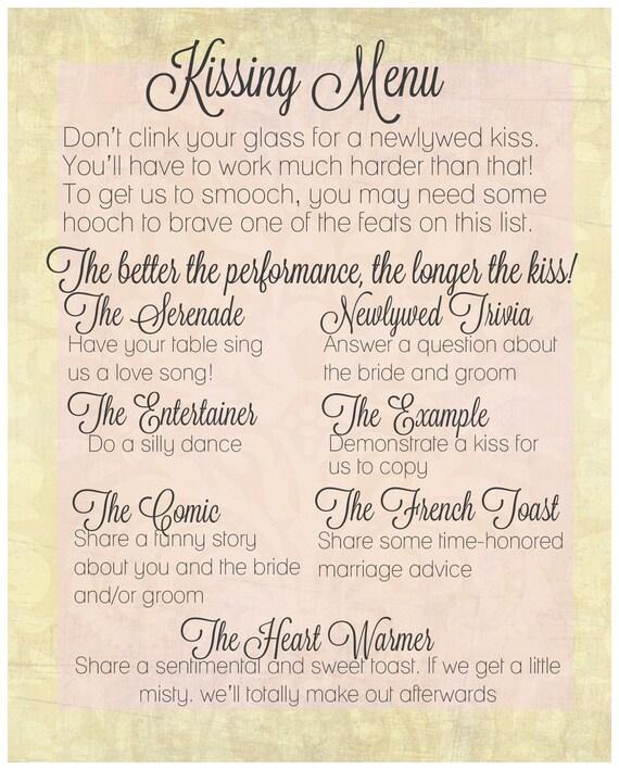 The Kissing Menu Wedding Decorations Printables You May