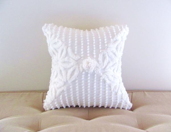 White Chenille Pillow Cover 12 X Pearls And Daisies