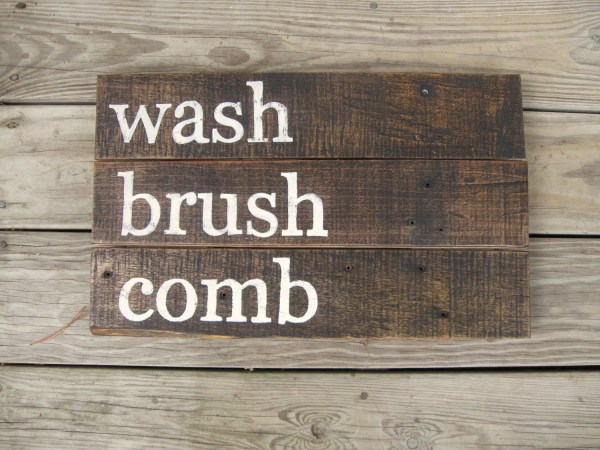 Rustic Wall Decor Distressed Wood Sign Bathroom