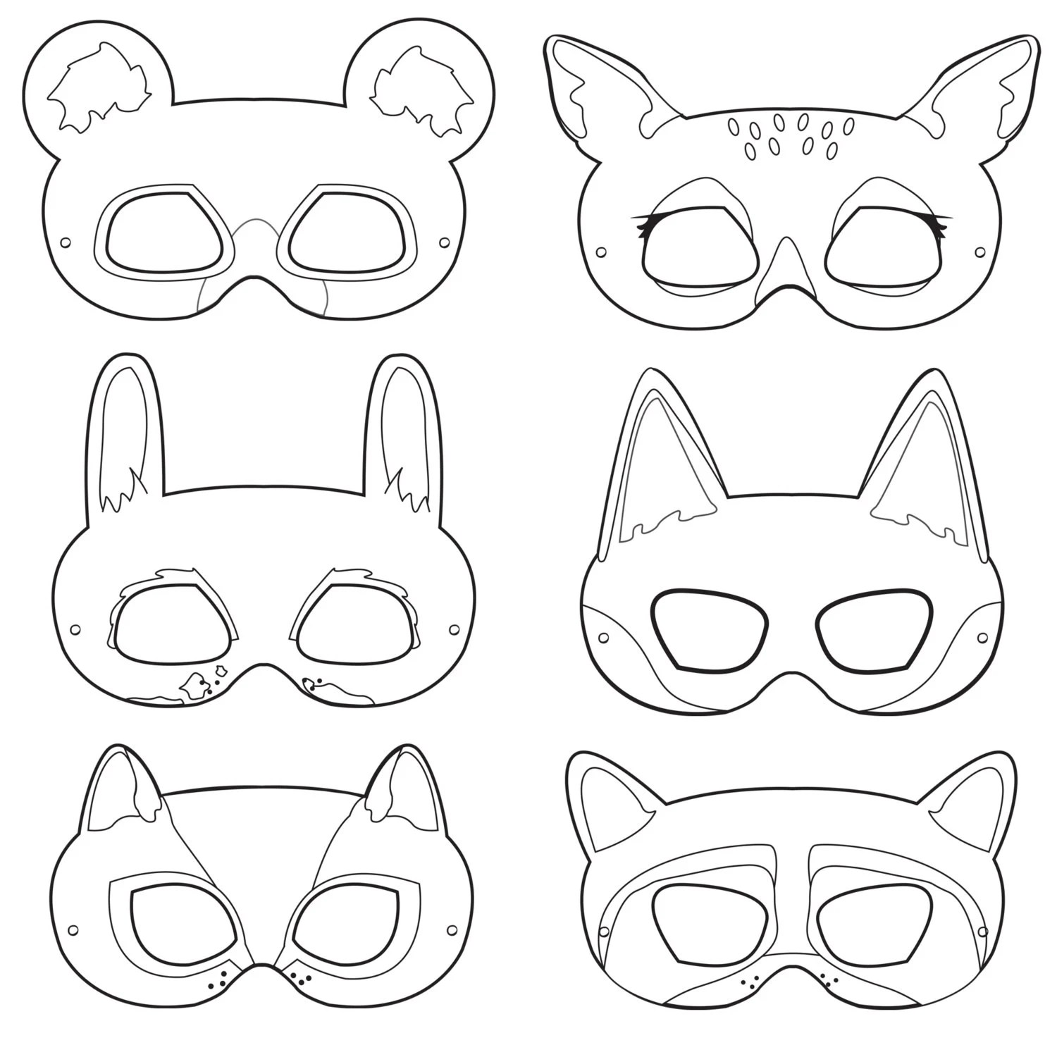 Woodland Forest Animals Coloring Masks by HappilyAfterDesigns