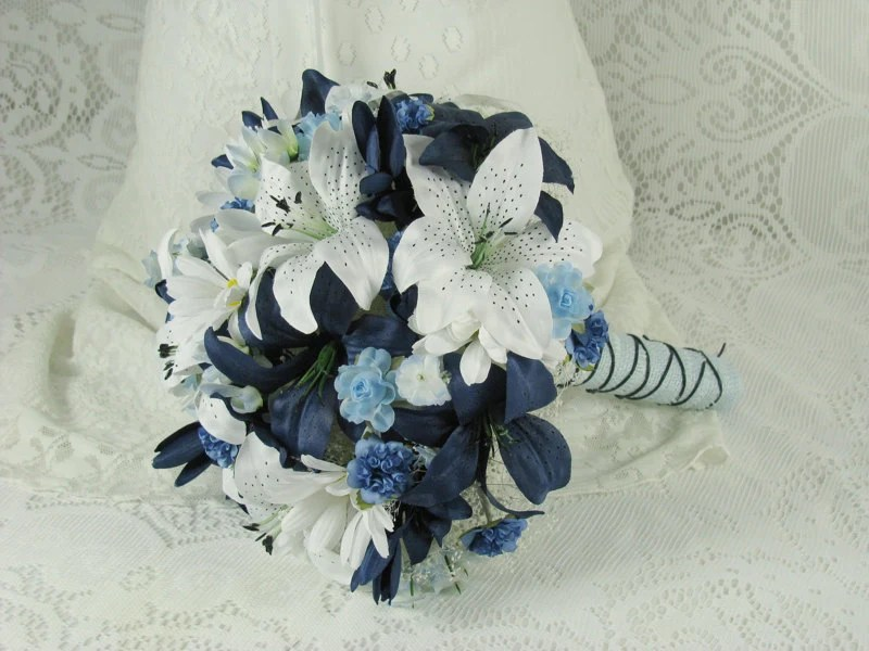 Wedding Bouquet Navy Blue and White Tiger Lily Brides