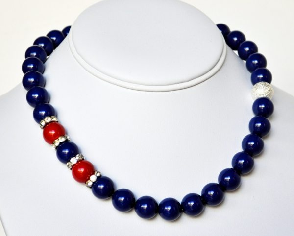 Blue Pearl Necklace and Red Handmade Beaded Jewelry in Silver