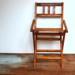Folding Chair For Child Fold Up High Seat Vintage Wooden Sized By