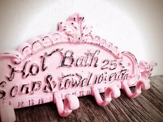BOLD pastel powder pink BATH sign towel hook