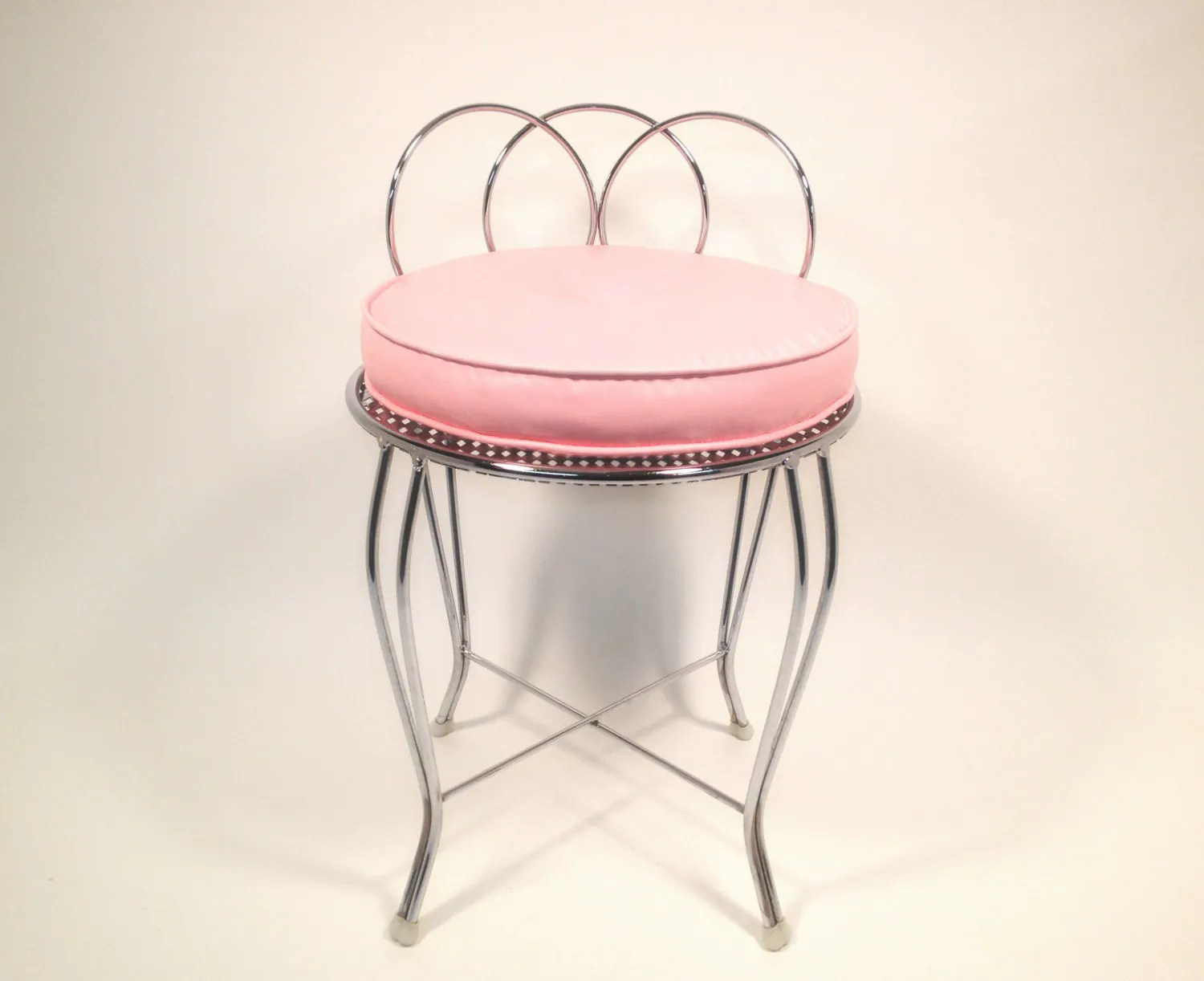 pink stool chair counter height parsons mid century metal vanity with cushion by