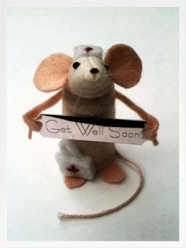 Night Time Ornament Mouse Handmade felt gift only by