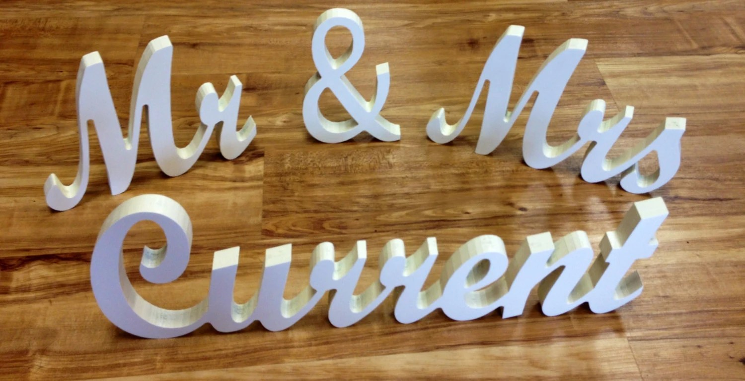 Custom Mr & Mrs Sign Freestanding Letters Word By