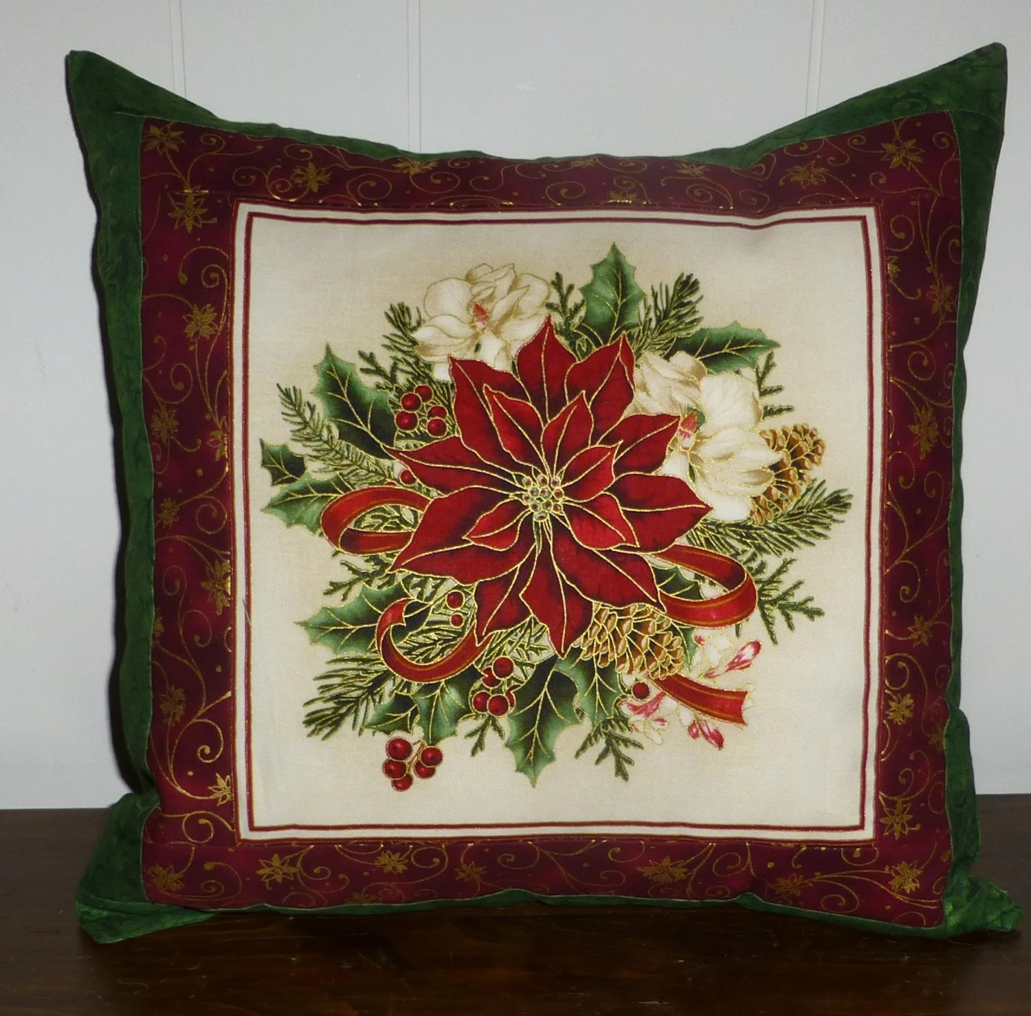 holiday decorative chair covers dark blue velvet accent christmas pillow cover poinsettia beautiful with
