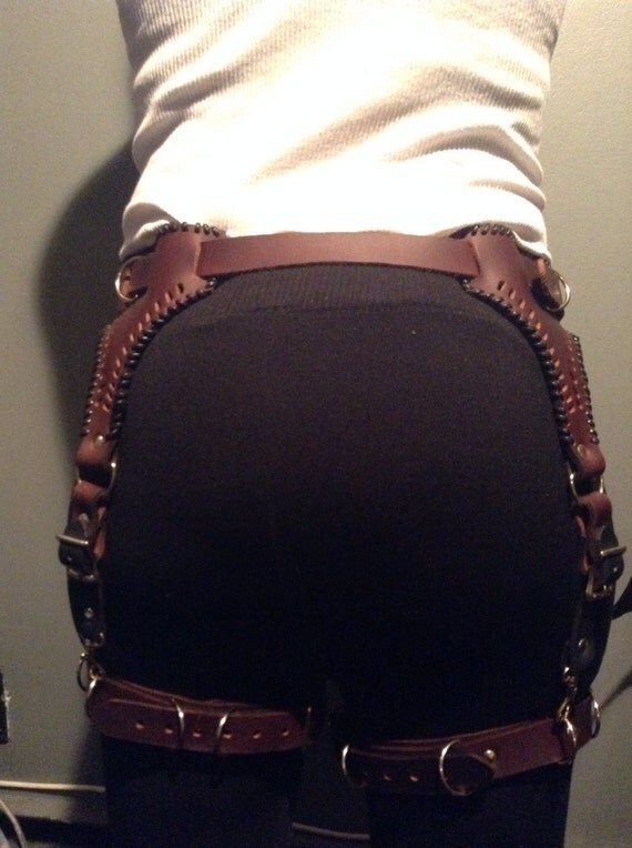 Brown Leather Steampunk Garter Belt by LethalWare on Etsy