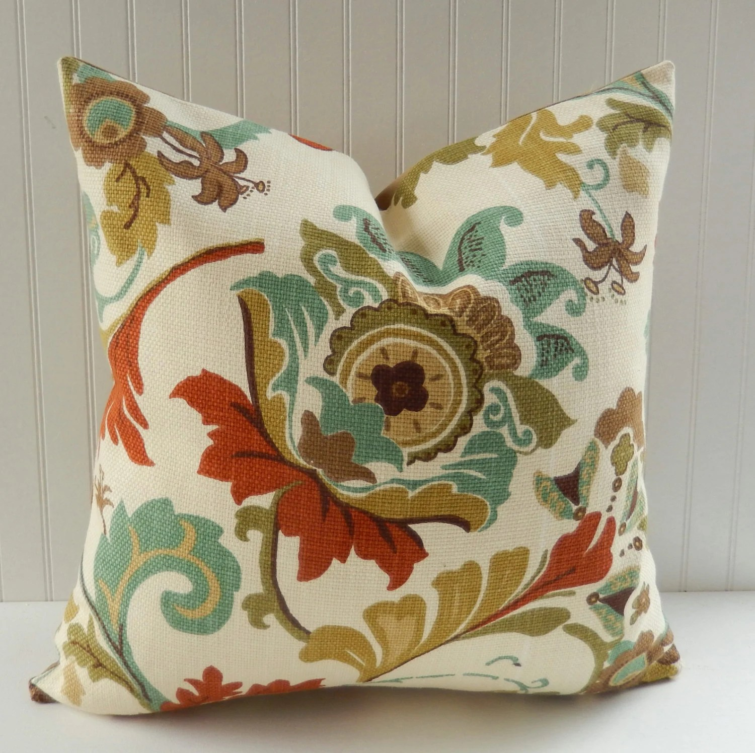 Floral Decorative Pillow Cover Teal Rust Olive Green Large
