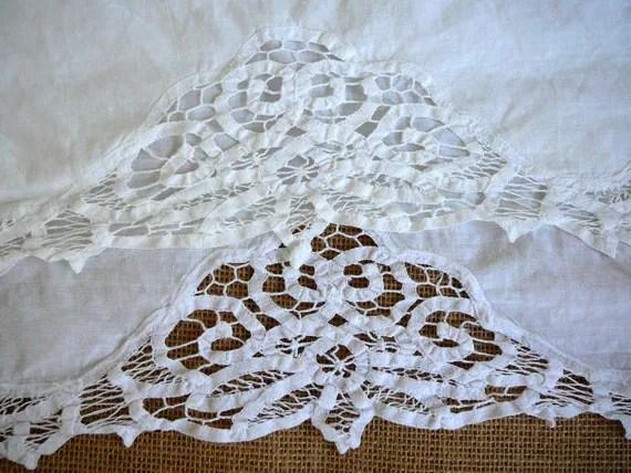 Battenburg Twin Bedskirt White Lace Linen by