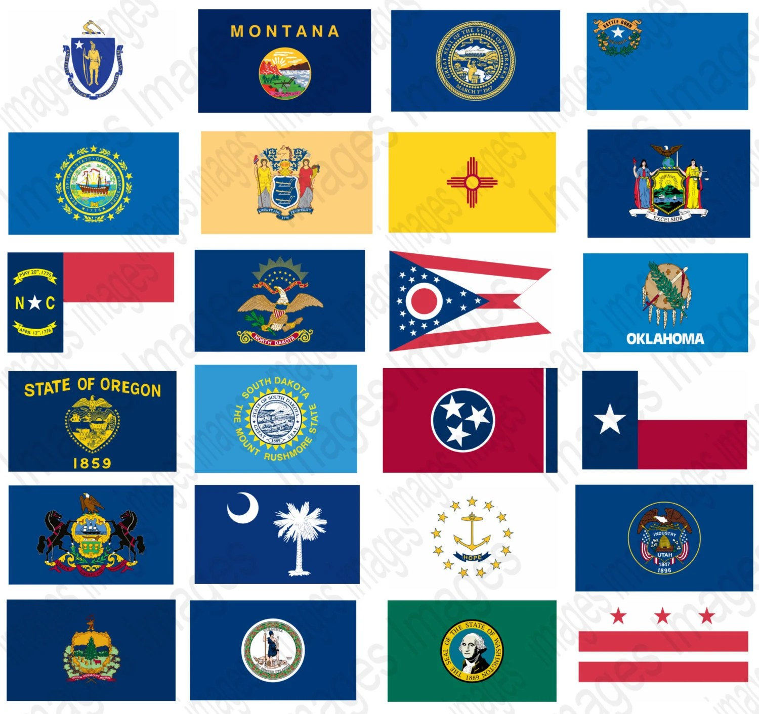 State Flags Clipart Set 50 Individual State Flag Images To Use