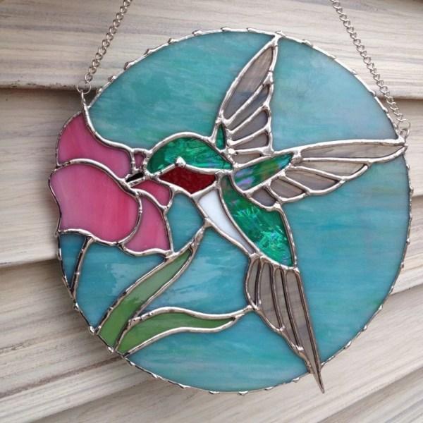 Ruby Throated Hummingbird Stained Glass Suncatcher
