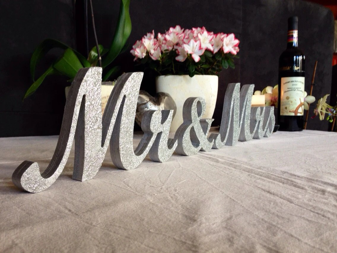 Silver Glitter Mr & Mrs Letters Wedding Table Decoration