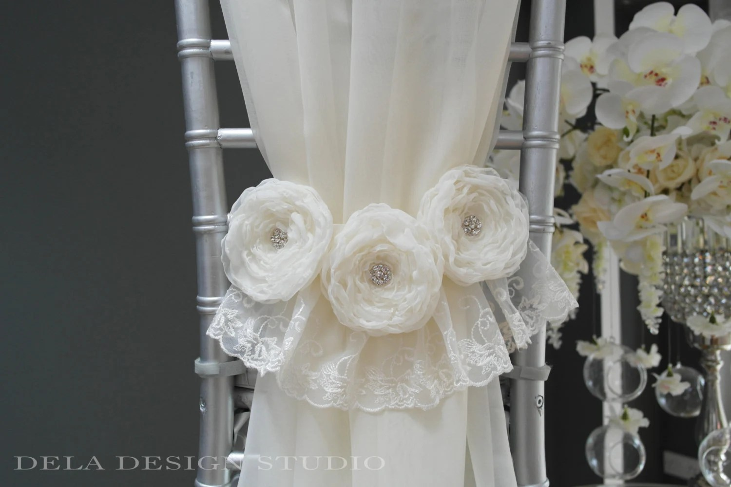 flower chair sashes for wedding black pub table and chairs trio fabric sash by