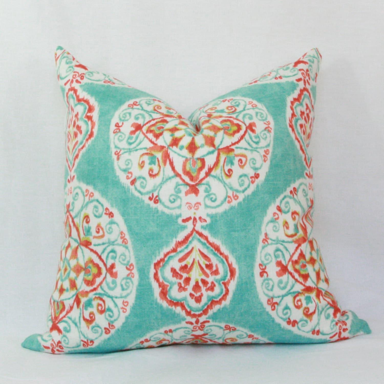 Aqua red orange decorative throw pillow cover 18 x