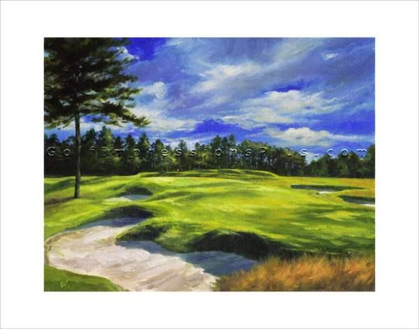 Golf Painting. Oil Art Print. Pinehurst
