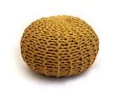 Large soft ocher handmade knitted pouf - tayostudio
