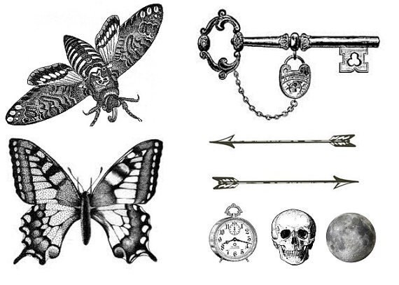 Set of 8 temporary tattoo Ink Tiny Arrow Skull Moth by