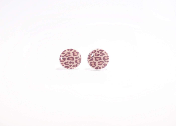 Leopard Print Earrings Animal Print Posts Plastic by